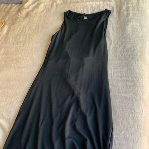 Open back, black dress